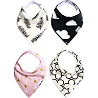 Baby Bandana Drool Bibs Gift Set For Girls, 4 Pack Organic Cotton With Snaps ...