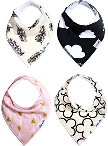 Baby Bandana Drool Bibs Gift Set For Girls, 4 Pack Organic Cotton With Snaps 'Beverly Hills Set' by California Blue