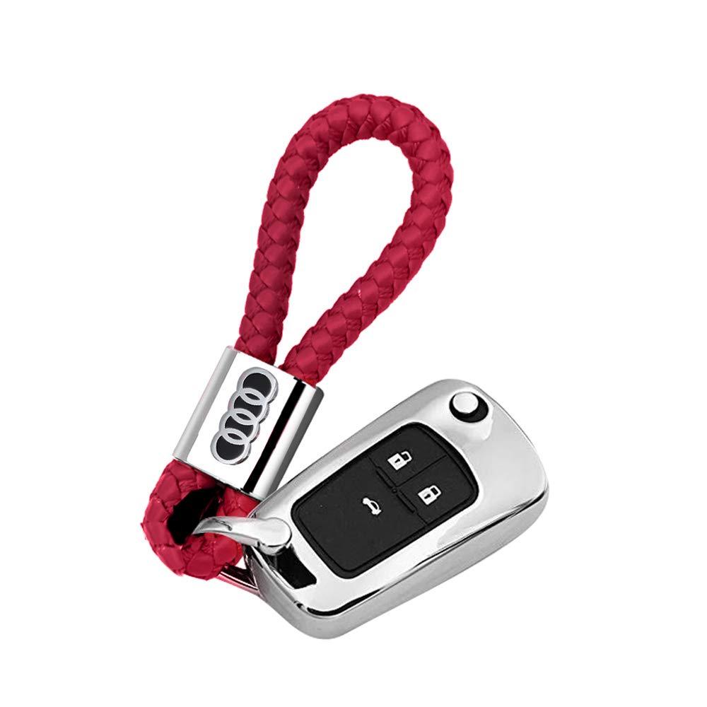 VILLSION 2Pack Genuine Leather Keychain for Audi Wine Red Car Logo Keyring Emblem Key Chain