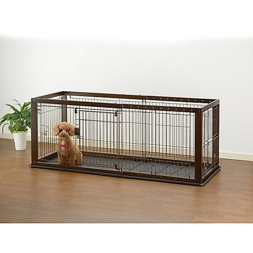 - Richell Expandable Pet Crate with Floor Tray, Small, Dark Brown