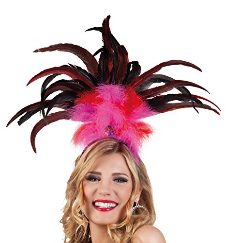 Boland Rio 52283 Headband with Feathers One Size Pink / Red ()