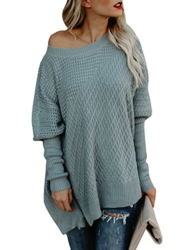 Beautife Womens Oversized Batwing Sleeve Round Neck Patchwork Cable Knit Pullover Sweaters