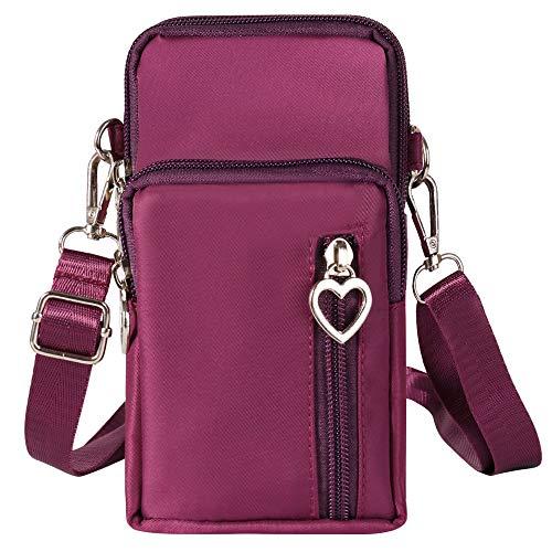 Cell Phone Crossbody Bag Purse Zip Wristlet Wallet Sports Armband Mini Shoulder Bag Card Holder (Purple) (Samsung Galaxy Mega 1 Unlocked)