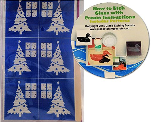 Home Christmas Tree Glass Etching Stencils with Snowy Window + Free How to Etch CD
