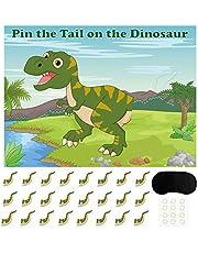 FEPITO Pin The Tail dinosaurusspel met 24 stuks staarten voor dinosaurussen, verjaardagsfeestaccessoires, jongens-dinosaurus, partyspel
