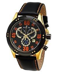 Porsamo Bleu Cancun Genuine Leather Gold Tone, Black & Orange Men's Watch 061CCAL