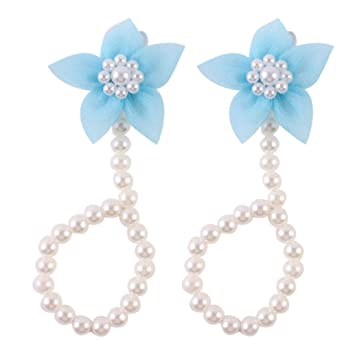 749c99bf2 Amazon.com   FEITONG  2016 Cute Pearl Chiffon Barefoot Toddler Foot Flower  Beach Sandals Anklet (Sky Blue)   Baby