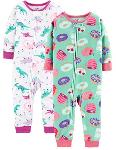 Carter's Baby Girls' 2-Pack Fleece Footless Pajamas (Pink Green Multi, 12 Months)