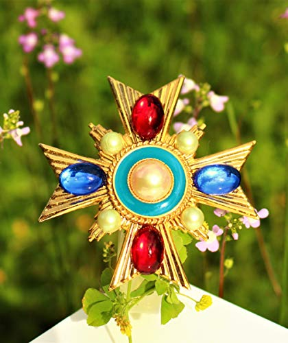 Red and blue glass cabochons gold tone Maltese Cross faux pearl BROOCH by Inga Engele made in USA 65mm x 65mm