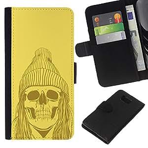 - FACE GHOST SKULL ART MAN DEAD ZOMBIE - - Prima caja de la PU billetera de cuero con ranuras para tarjetas, efectivo desmontable correa para l Funny House FOR Samsung ALPHA G850