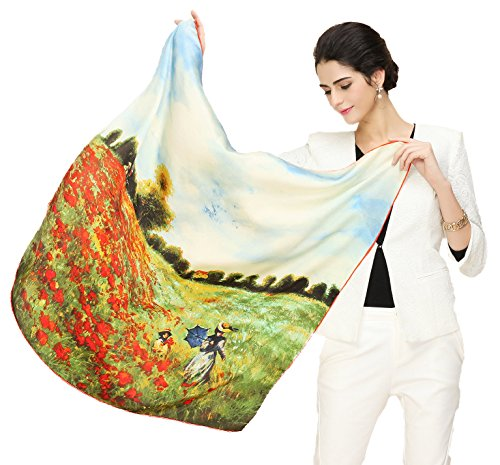 (Grace Scarves 100% Silk Scarf With Hand Rolled Edges, Large, Claude Monet, Corn Poppies)