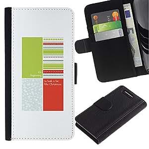 KingStore / Leather Etui en cuir / Sony Xperia Z1 Compact D5503 / Cita Blanco Verde Melocotón