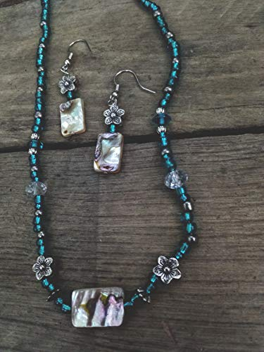 Used, Mother of Pearl Abalone Paua teal necklace earrings for sale  Delivered anywhere in USA
