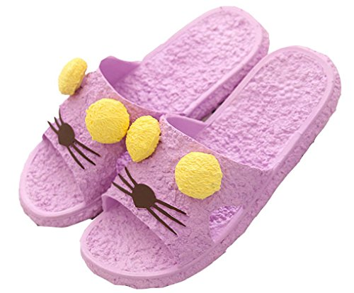 Blubi Womens Cat Open Toe Lightweight Beach Sandal Shower Slippers Purple MYDtXBBBKz