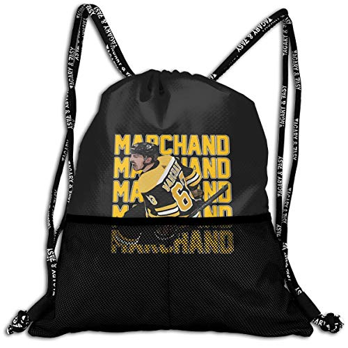 Drawstring Backpack Black Boston Marchand Text Pic Shoulder Bags Rucksack For Kids Teens Boys And Girls Sport Gym Sack Cute Gym Bags