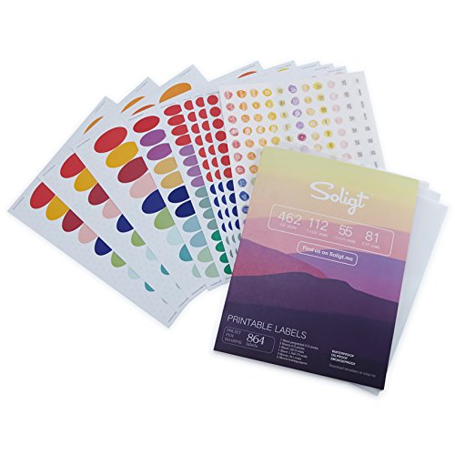 Rainbow Pattern Waterproof Essential Oil Labels Set, Blank Printable Stickers for All Bottles and Vials, 9 Sheets of 864