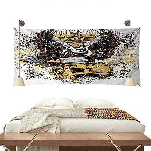 (ScottDecor Tattoo Bedroom Tapestry American Eagle Wings Wide Open Top of Skull Carrying Brick Wall with Eye Print Tapestry Throwing Blanket 80W x 60L InchBrown and White)