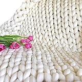 White Cozy Chunky Blanket Merino Wool Full Size Giant Stitch Blanket,Arm Knitted Blanket,Extreme Knitting Throw Blanket for Family Friend