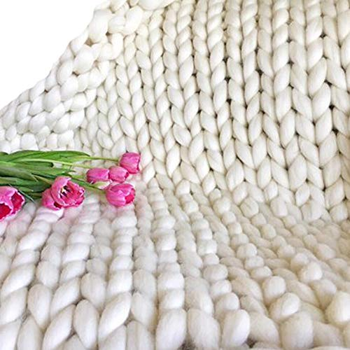 White Cozy Chunky Blanket Merino Wool Full Size Giant Stitch Blanket,Arm Knitted Blanket,Extreme Knitting Throw Blanket for Family Friend by Popular Knit Chunky Blanket (Image #3)