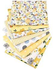 Hanjunzhao Yellow Cotton Fat Quarters Fabric Bundles, Precut Sewing Quilting Fabric,18x22 inches