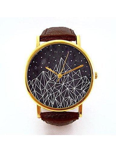 PEISHI J montaña geométrica relojes unisex reloj de señoras reloj de la naturaleza minimalista geometría moderna idea de regalo analógico navajo , black: ...