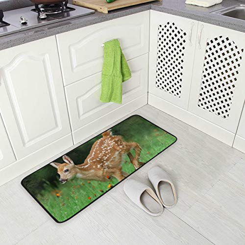 Kitchen Rug Mat White Tailed Deer Standing Anti Fatigue Comfort Flooring Door Mat Oil Proof Floor Mat and Easy to Clean