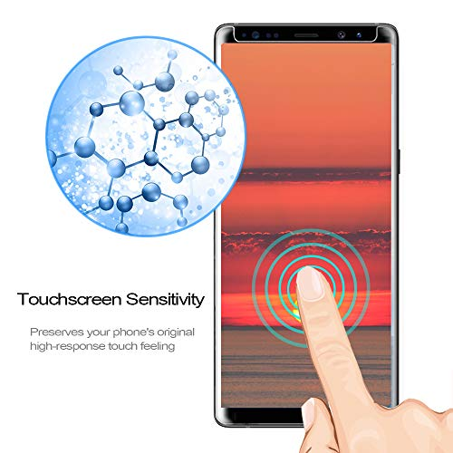 [2Pack] Galaxy Note 8 Screen Protector, 3D Full Screen Coverage Glass [Curved] [Bubble-Free] [9H Hardness] [Anti-Scratch] Clear Galaxy Note 8 Tempered Glass Screen Protectors for Samsung Galaxy Note 8 by AsianiCandy (Image #3)