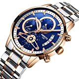 NIBOSI Men's Watches,Luxury Stainless Steel Waterproof Quartz Wristwatch for Business Sports Rose Gold Blue