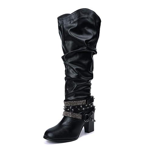 Botas Mujer Cuero Tacón Bloque Largo Botas Altas Otoño Remache Zapatos de Mujer Cuña Señoras Botines Calzado Moda Negras Marrón Beige 35 43
