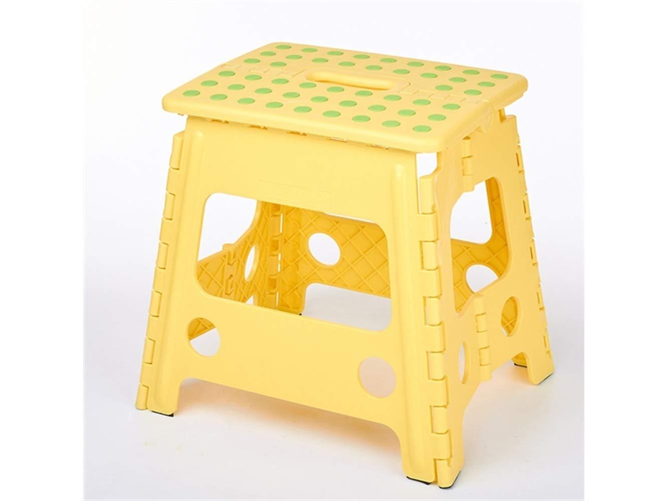 Klappbarer Camping-Stuhl Einzelner Schritt Folding Plastikhocker Tragbarer Schemel Portable Kind Erwachsener Hocker (Gelb)