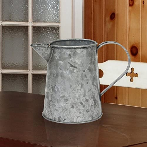 Stonebriar Small Country Rustic Galvanized Metal Pitcher with Handle 5 inch