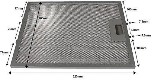 First4Spares Universal 320x 260mm Metal de aluminio malla filtro de campana