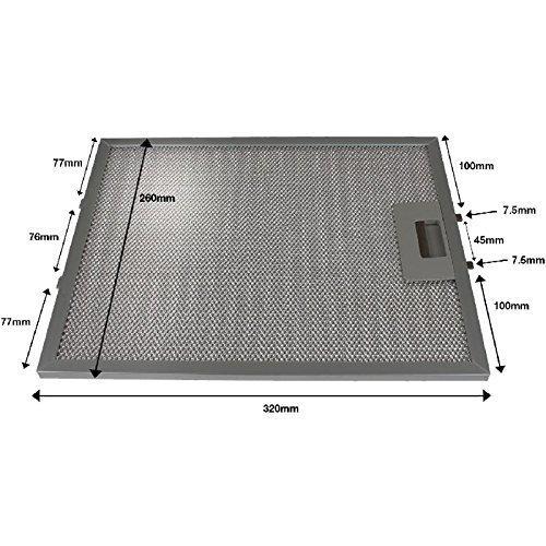 First4Spares Universal 320 x 260 mm aluminio de malla de Metal filtro para campana extractora