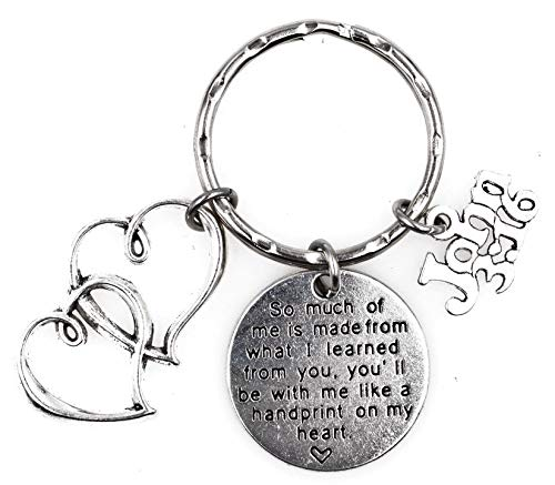 So Much of me is Made from What I Learned from You You/'ll be with me Like a Handprint on My Heart Double Hearts John 3:16 Bible Study Teacher Keychain 109U
