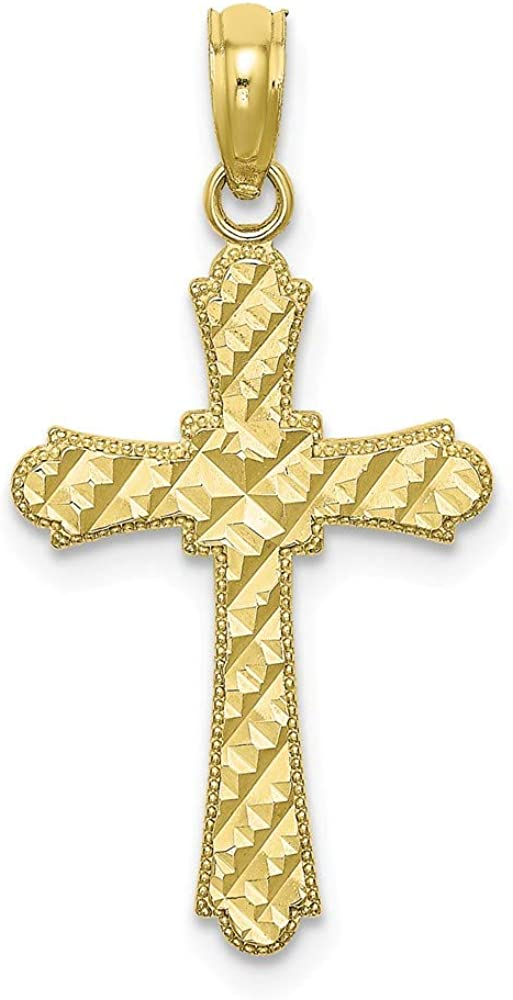 Jewels By Lux 10K Yellow Gold Diamond-cut Marquis Shapes Cross Pendant
