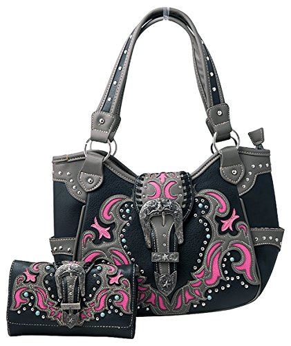 HW Collection Western Buckle Laser Cut Concealed Carry Purse Handbag and Crossbody Wallet (Hot (Black Buckle Purse)