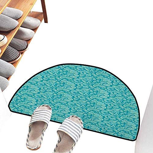 (Axbkl Welcome Door mat Ethnic Leaves Vintage Pastel Paisley Old Fashioned Historical Motifs in Blue Shades Hard and wear Resistant W30 xL18 Turquoise)