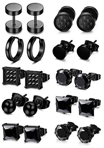 FIBO STEEL 5-10 Pairs Stainless Steel Black Stud Earrings for Men Women Huggie Earring Ear Piercing Set Hoop