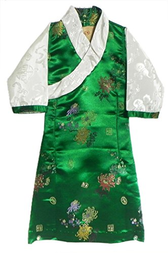 DollsofIndia Green Brocade Silk Sikkimese Dress for 1 To 2 Years of Age (LO43)