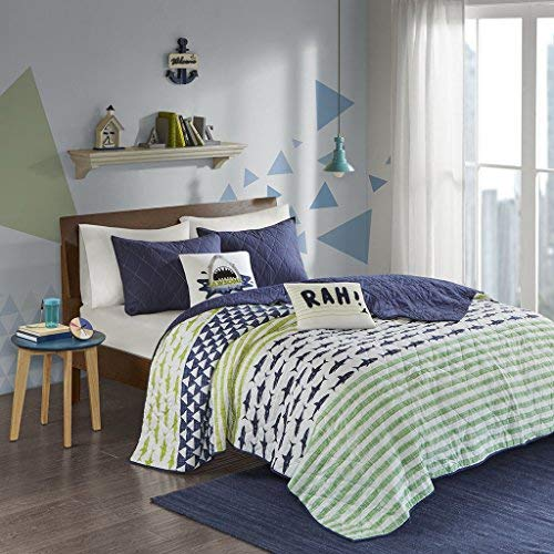 Urban Habitat Kids Finn Twin/Twin Xl Bedding Sets Boys Quilt Set - Green, Navy , Shark Stripe – 4 Piece Kids Quilt For Boys – 100% Cotton Quilt Sets Coverlet (Childrens Quilts Bedding)