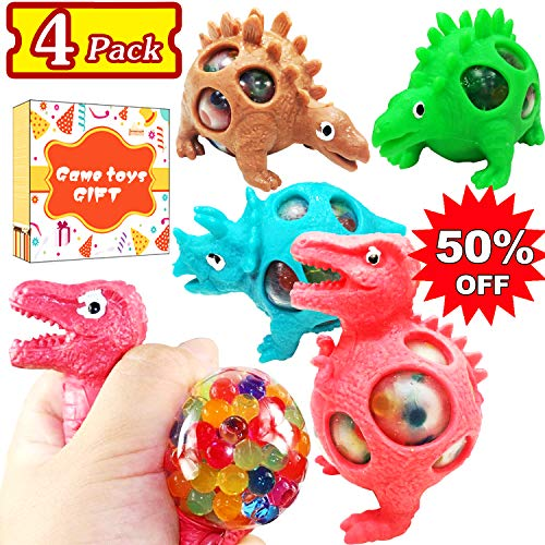 - 4 Pack Dinosaur Stress Relief Ball Toy Squeeze Sensory Ball Mesh Stress Balls for Kids Adults Autistic ADHD Anxiety Hand Therapy Stress Squishy Ball for Party Favor Summer Holiday Birthday Gift
