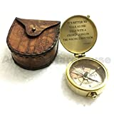 """Vintage Marine Brass Compass Xmas """"It's Better To Walk Alone Than With A Crowd Going In The Wrong Direction"""" Diane Grant"""
