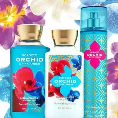 3 Piece Bath & Body Works Morocco Orchid and Pink Amber Fragrance Gift Set- Shower Gel, Body Lotion and Fragrance Mist (Morocco Orchid & Pink Amber)