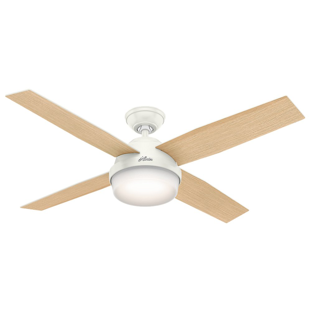 Hunter Indoor Ceiling Fan with light and remote control - Dempsey 52 inch, White, 59217
