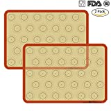 microwave bread - Silicone Baking Mat Cookie Sheet Set (2) Non-stick Cooking Mat Liner for Macaron Cake Bread Making Microwave Toaster Oven Tray Pan,16.5
