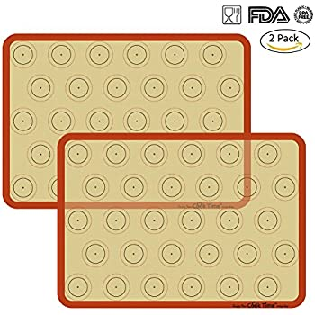 """Silicone Baking Mat Cookie Sheet Set (2) Non-stick Cooking Mat Liner for Macaron Cake Bread Making Microwave Toaster Oven Tray Pan,16.5"""" x 11 5/8"""""""