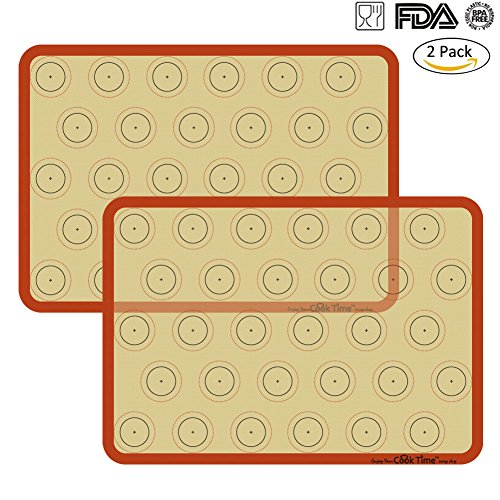 Silicone Baking Mat Cookie Sheet Set (2) Non-stick Cooking Mat Liner for Macaron Cake Bread Making Microwave Toaster Oven Tray Pan,16.5'' x 11 5/8'' by Cook Time