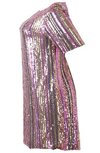 Red Party Bluewolfsea Dress Glitter Sparkle Clubwear Sequin Mini Rainbow T Women's Short Dress Loose Sleeve Shirt 0wqHcqZ4