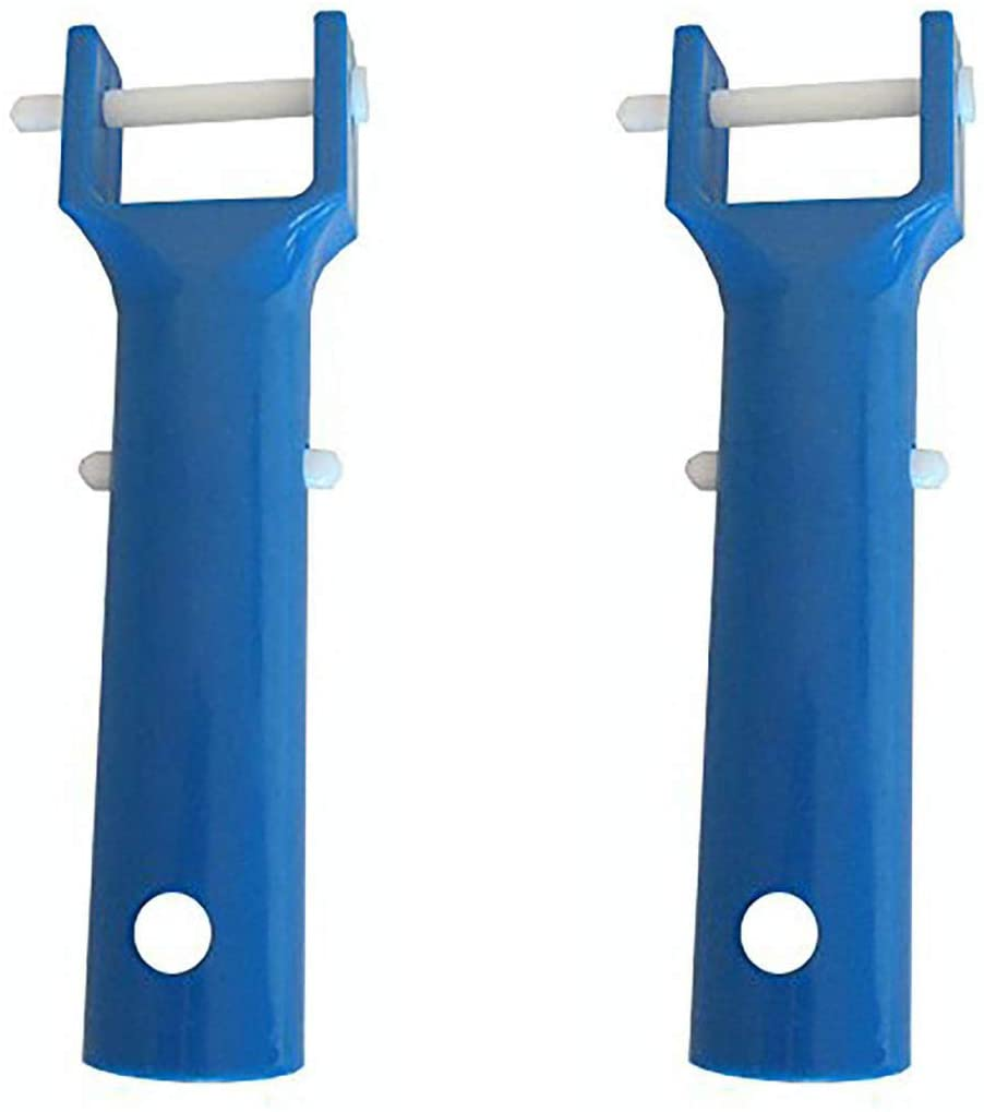 2 Pack Swimming Pool Spa Vacuum Head Handle Replacement w/V-Clip & Pin (Blue)