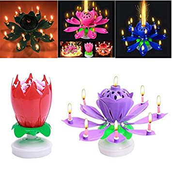 FomCcu Amazing Lotus Rotating Musical Candle Toy For Kids Happy Birthday Flower Magical Blossom